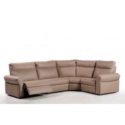 Salon d'angle cuir avec relax